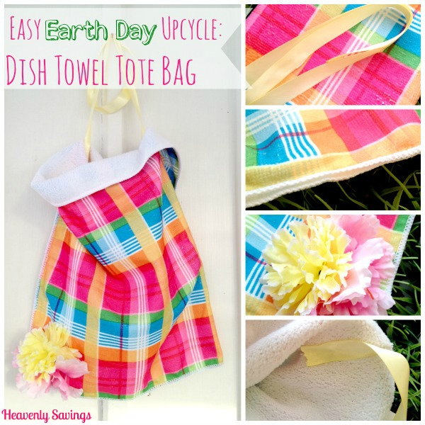 Easy Earth Day Upcycle No Sew Dish Towel Tote Bag